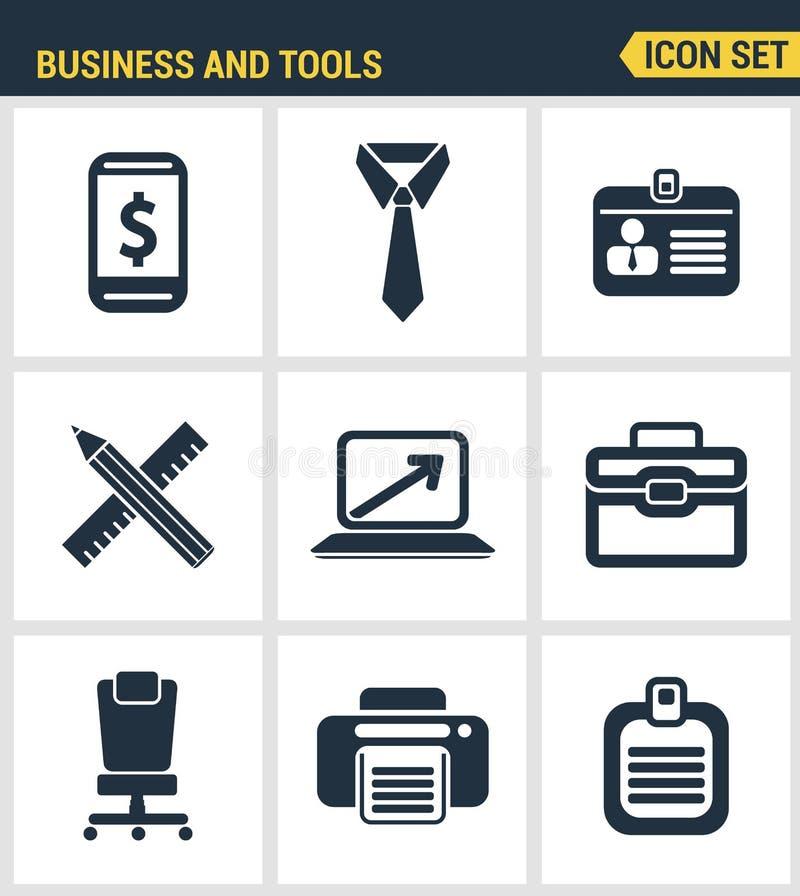 Los iconos fijaron la calidad superior de las herramientas esenciales del negocio básico, mobiliario de oficinas Estilo plano del libre illustration