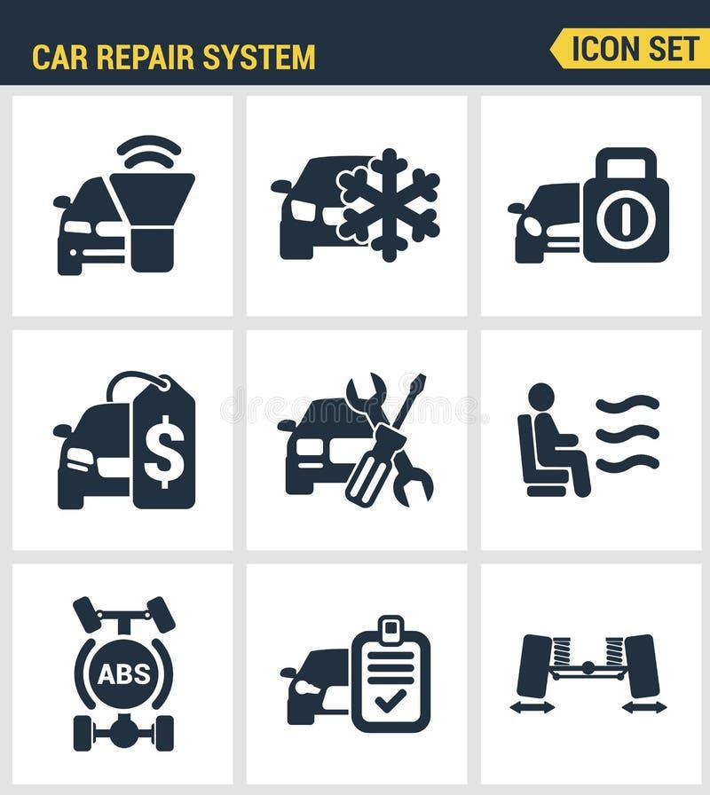 Los iconos fijaron la calidad superior del servicio del instrumento del automóvil del icono del sistema de la reparación del coch libre illustration
