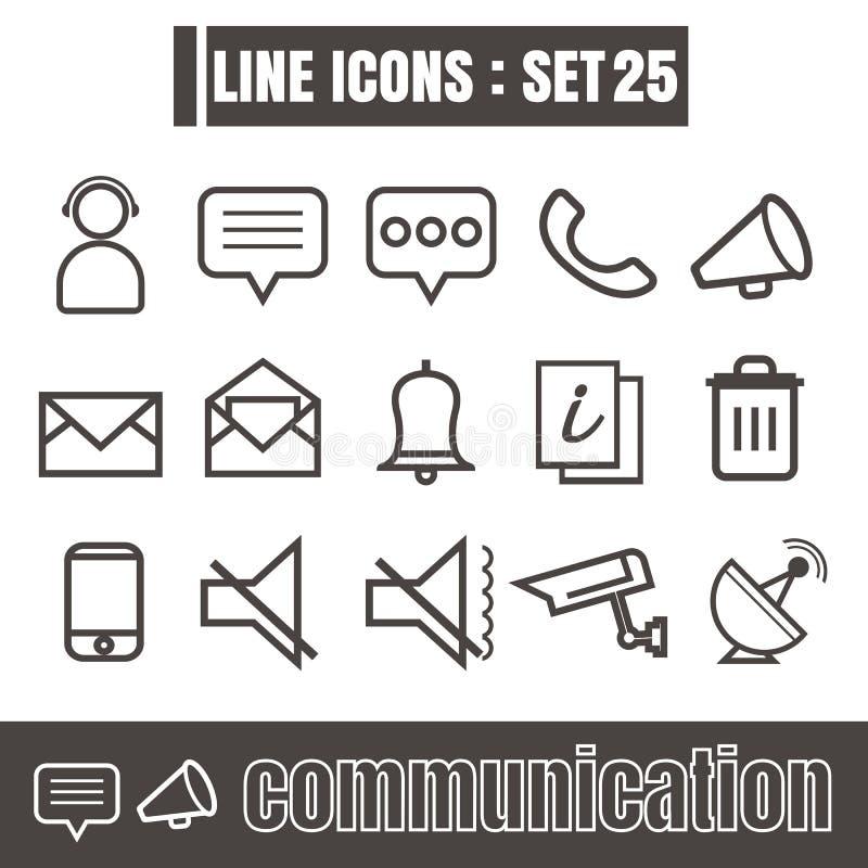 Los iconos fijaron la línea de comunicación elementos modernos del diseño del estilo del negro libre illustration