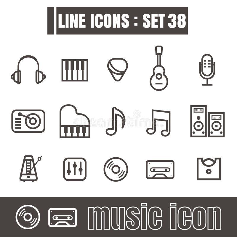 Los iconos fijaron la línea geometría moderna de la música de los elementos del diseño del estilo del negro ilustración del vector