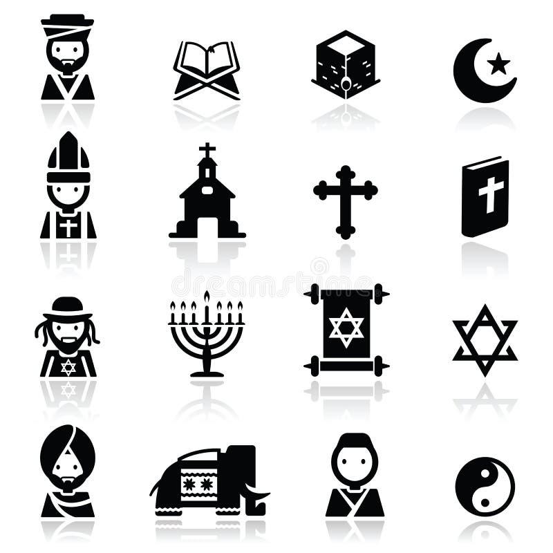 Los Iconos Fijaron Religiones Fotografía de archivo