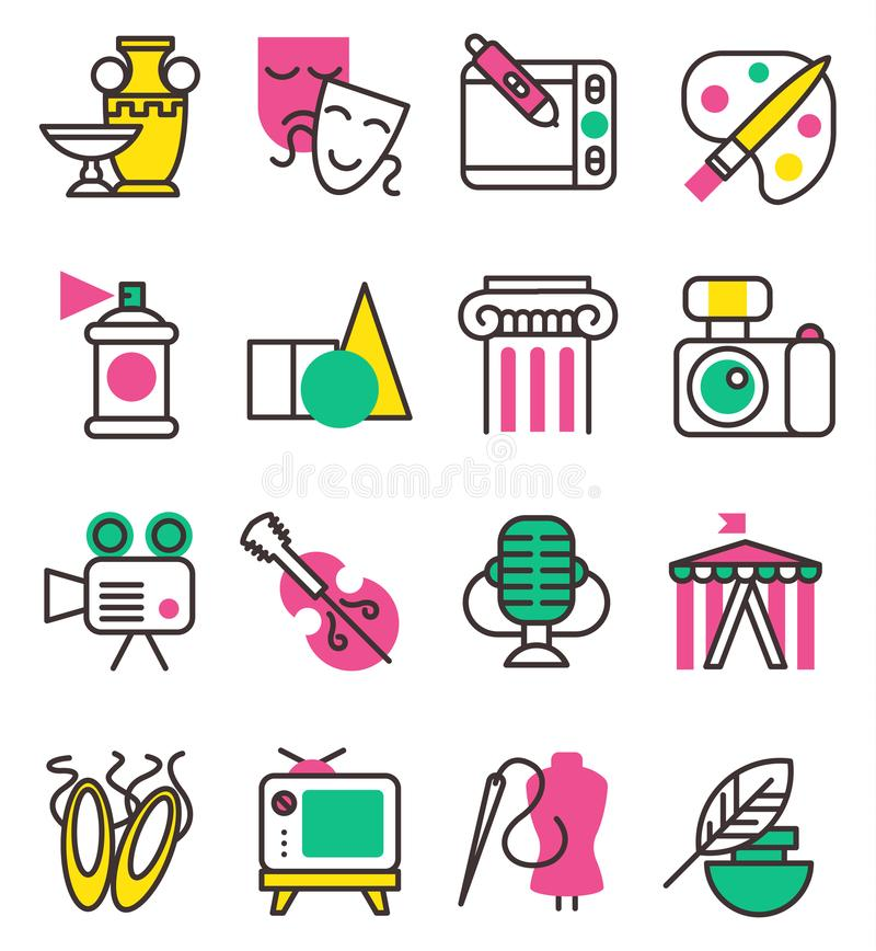 Los iconos gráficos del arte de la creación del vector fijaron el ejemplo plano del diseño Circo, TV, columna, imagen, entretenim ilustración del vector