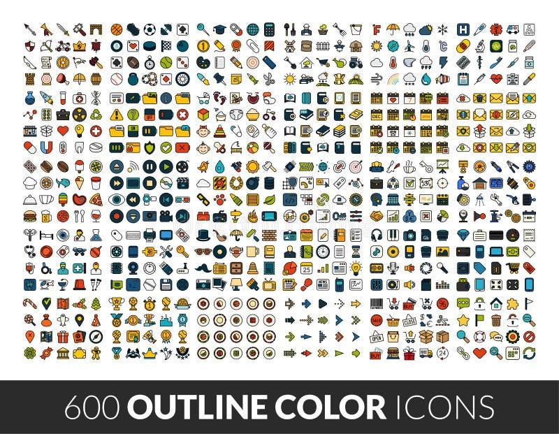 Los iconos grandes fijaron, pictograma del vector del color de 600 esquemas stock de ilustración