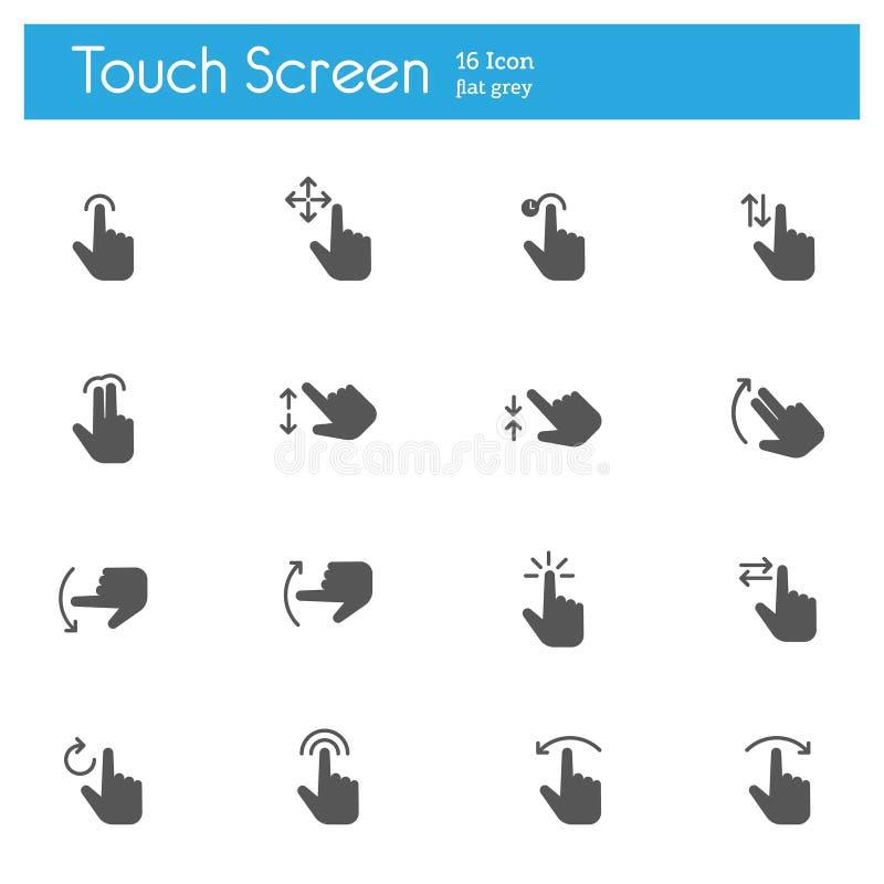 Los iconos grises planos de los gestos del tacto fijaron de 16 ilustración del vector