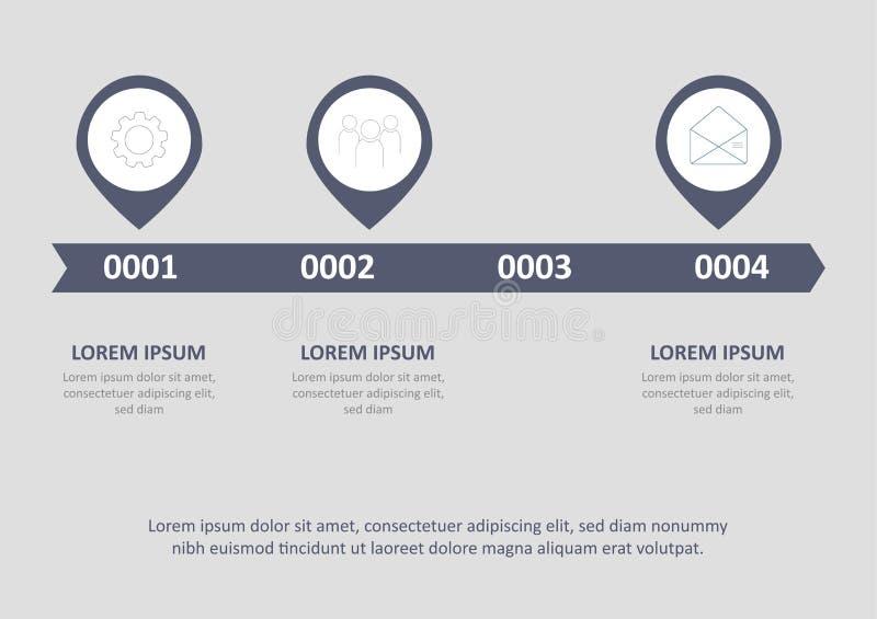 Los iconos infographic del vector y del márketing del diseño de la cronología se pueden utilizar para la disposición del flujo de ilustración del vector