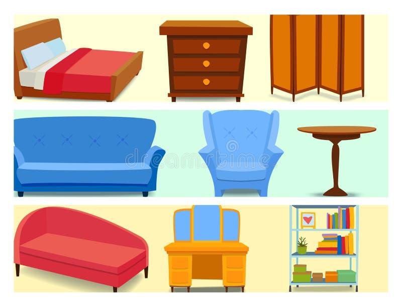 Los iconos interiores de los muebles se dirigen el ejemplo cómodo del vector del sofá del apartamento de la sala de estar del dis stock de ilustración