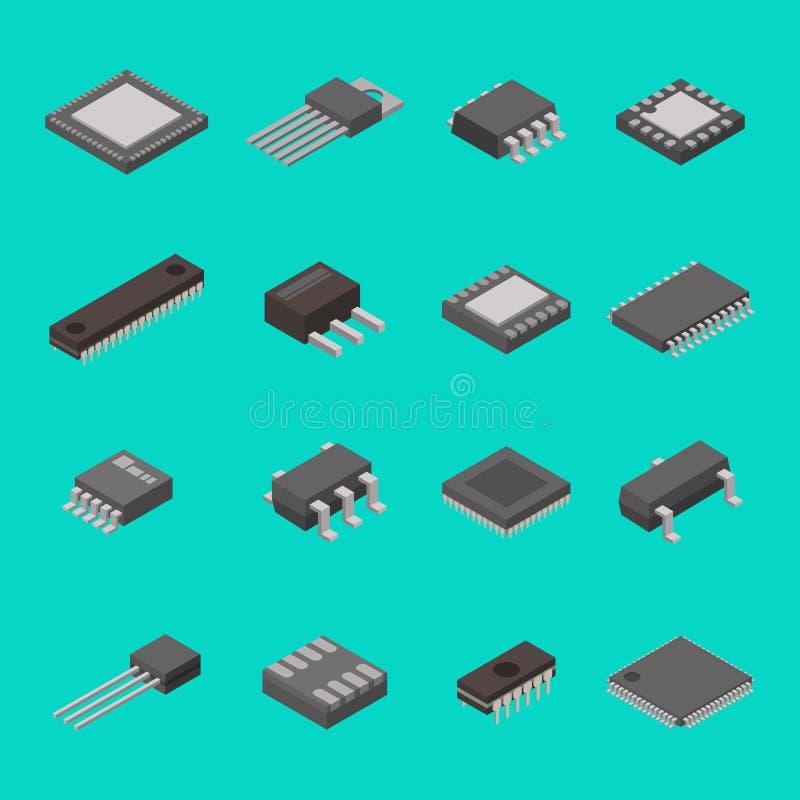 Los iconos isométricos aislados de los componentes electrónicos del ordenador del semiconductor del microchip vector el ejemplo ilustración del vector