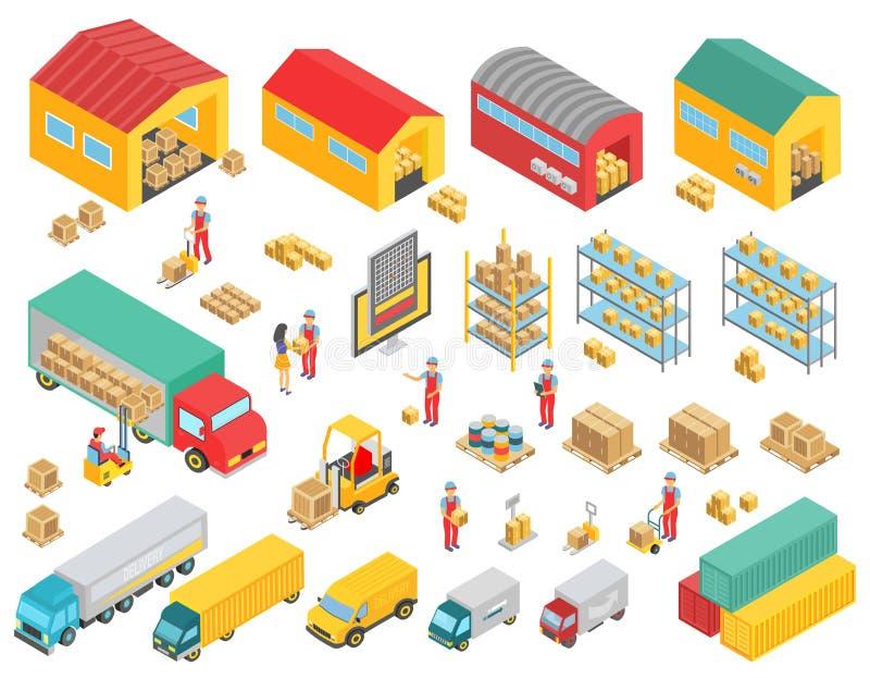 Los iconos isométricos de la logística fijados con los camiones del cargo, los buoldings, los almacenes y los símbolos de la gent libre illustration
