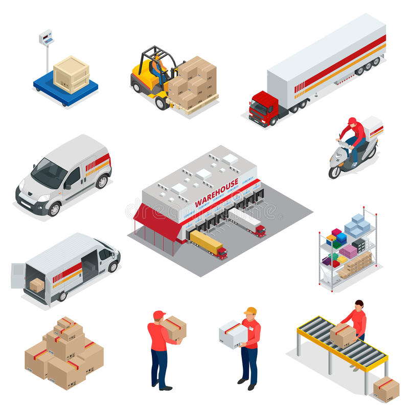 Los iconos isométricos de la logística fijaron de diversos vehículos de la distribución del transporte, elementos de la entrega V libre illustration
