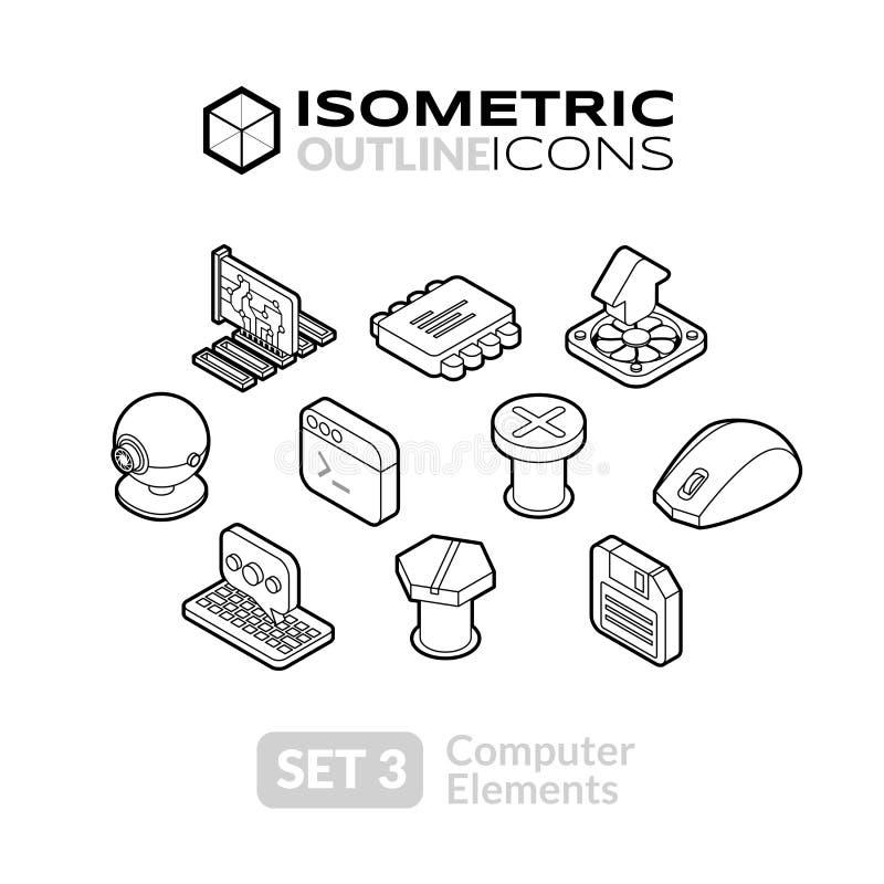 Los iconos isométricos del esquema fijaron 3 ilustración del vector