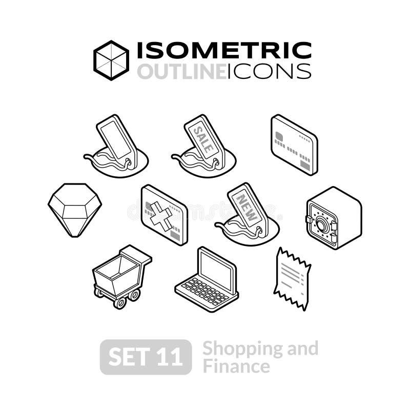 Los iconos isométricos del esquema fijaron 11 stock de ilustración