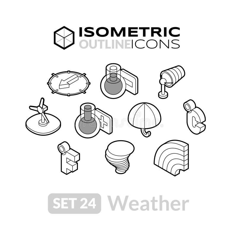 Los iconos isométricos del esquema fijaron 24 ilustración del vector