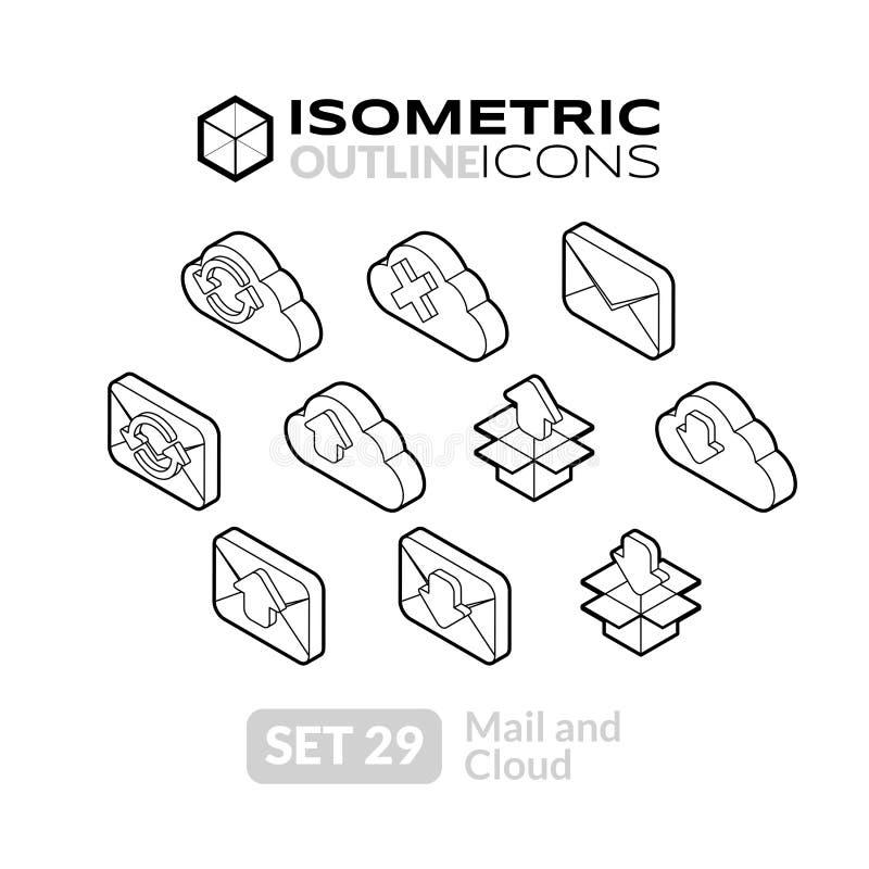 Los iconos isométricos del esquema fijaron 29 ilustración del vector