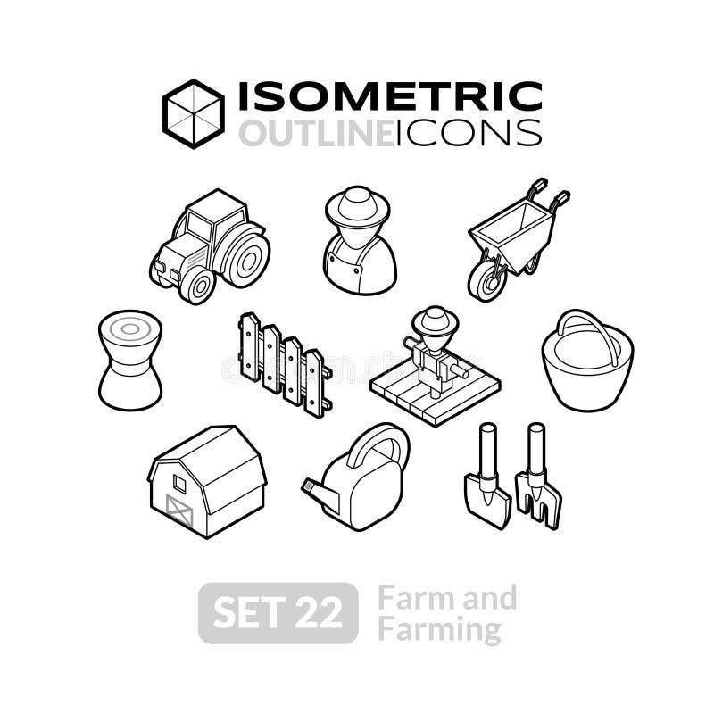 Los iconos isométricos del esquema fijaron 22 stock de ilustración