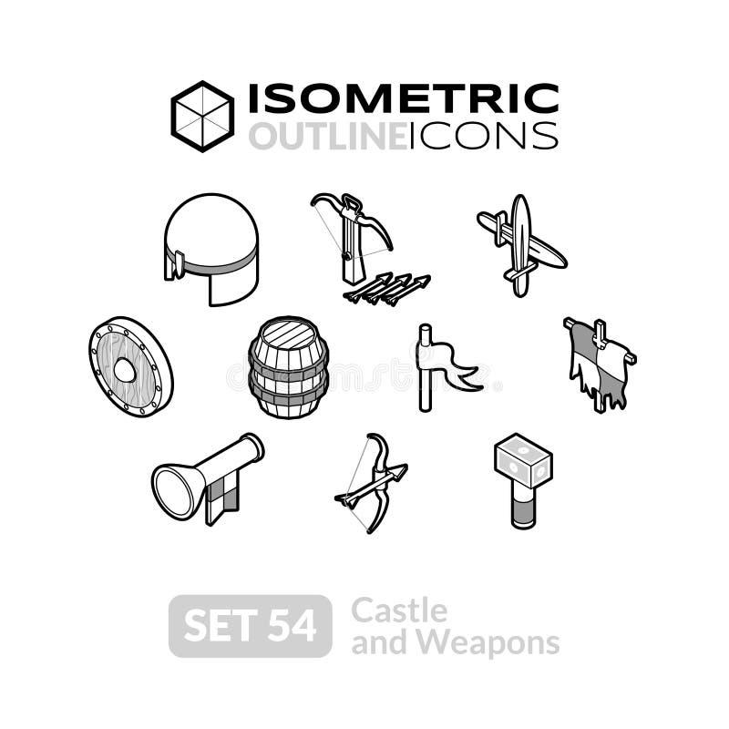 Los iconos isométricos del esquema fijaron 54 libre illustration