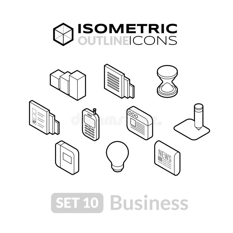 Los iconos isométricos del esquema fijaron 10 stock de ilustración