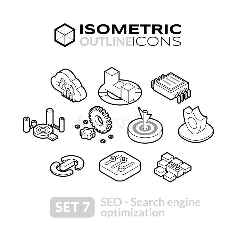 Los iconos isométricos del esquema fijaron 7 stock de ilustración