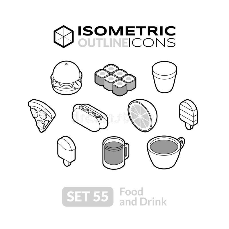 Los iconos isométricos del esquema fijaron 55 ilustración del vector