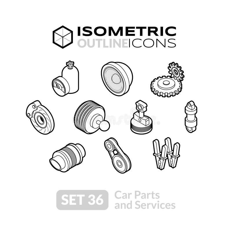 Los iconos isométricos del esquema fijaron 36 stock de ilustración
