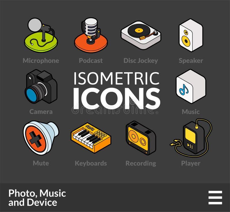 Los iconos isométricos del esquema fijaron 6 stock de ilustración