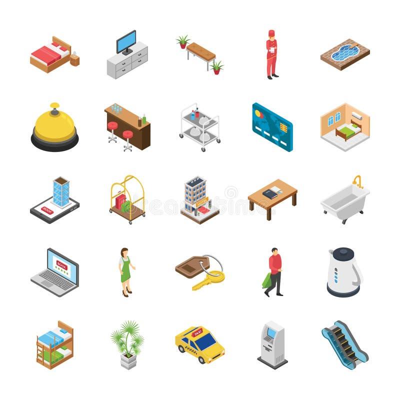 Los iconos isométricos del hotel embalan libre illustration