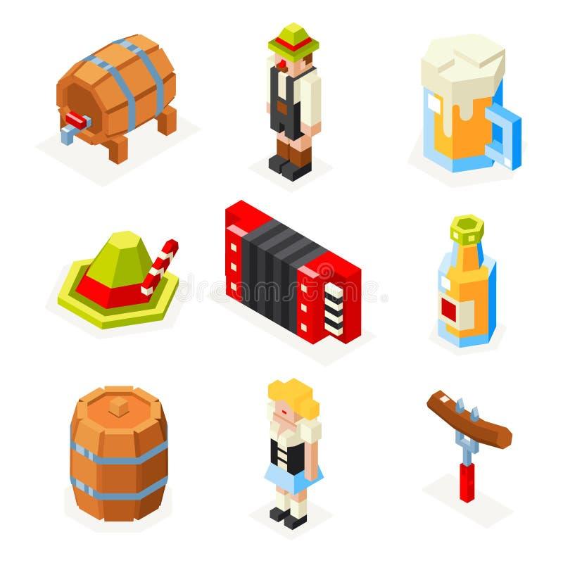 Los iconos isométricos del polígono 3d de Oktoberfest fijaron la cerveza ilustración del vector