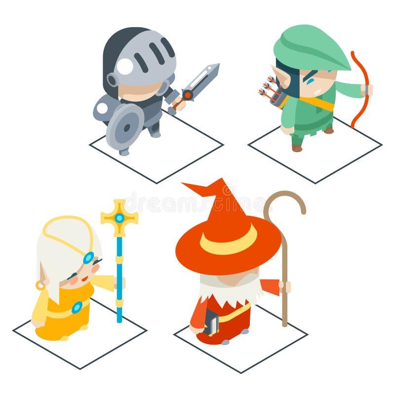 Los iconos isométricos del vector del carácter del juego del RPG de la fantasía fijaron el ejemplo ilustración del vector