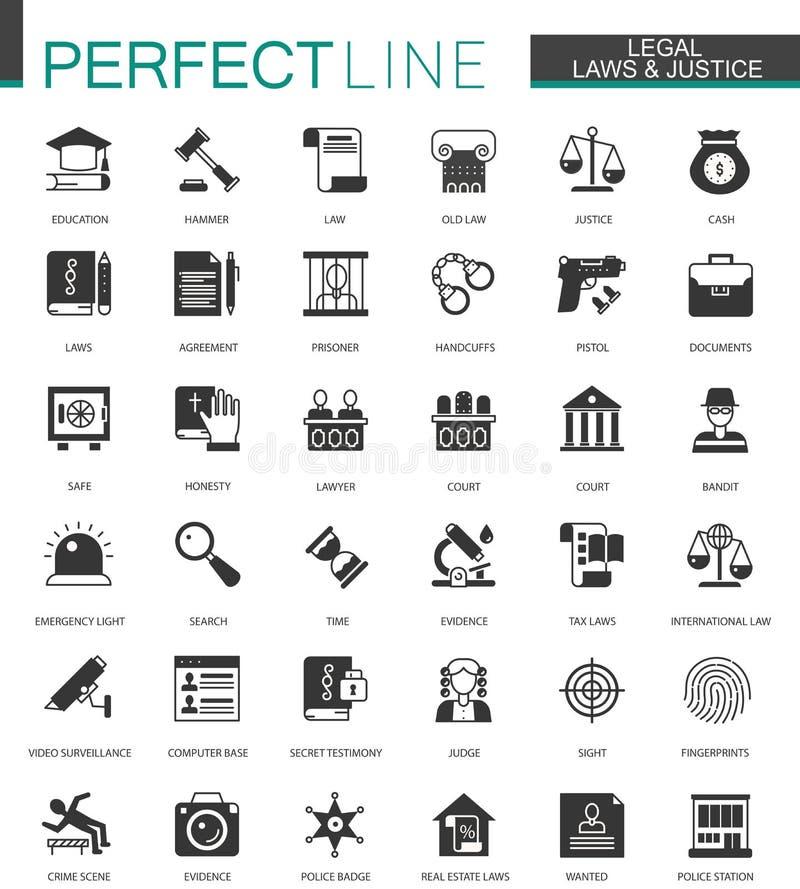 Los iconos legales, de la ley y de la justicia clásicos negros fijaron aislado libre illustration