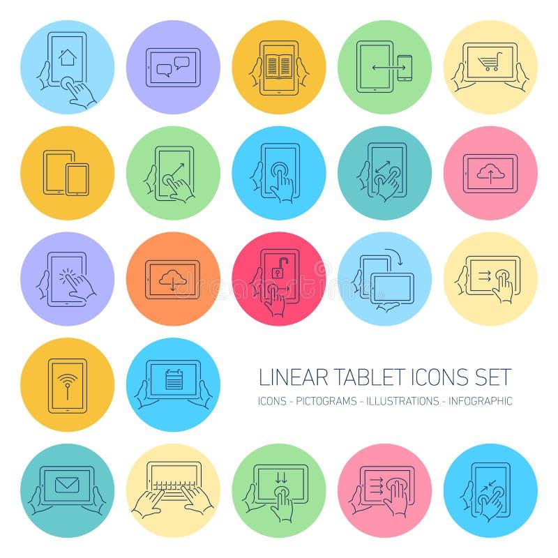 Los iconos lineares de la tableta del vector fijaron con gestos de mano y pictogramas libre illustration