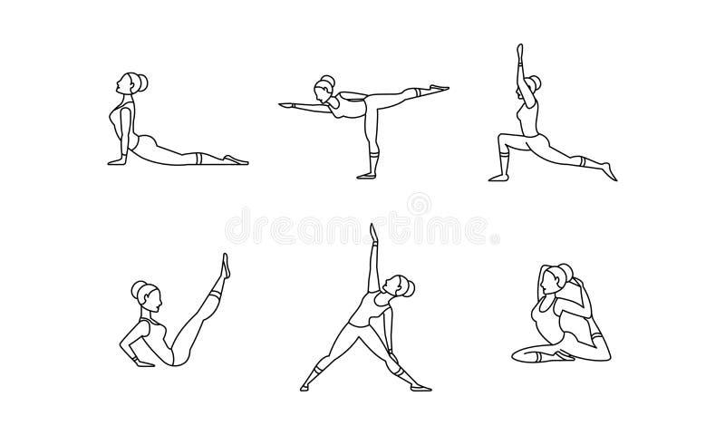 Los iconos lineares sistema, siluetas de las mujeres, colección de los asanas de la yoga de yoga plantean el ejemplo del vector e ilustración del vector