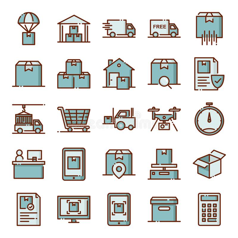 Los iconos log?sticos embalan libre illustration
