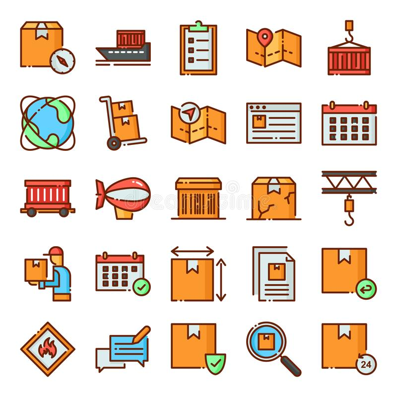 Los iconos log?sticos embalan stock de ilustración