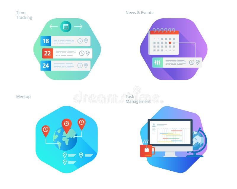 Los iconos materiales del diseño fijaron para el encargado del tiempo, las noticias y los eventos, meetup, gestión de tarea, segu stock de ilustración