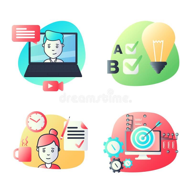 Los iconos materiales del diseño fijaron para la educación, tutoriales video, cursos en línea, entrenamiento y desarrollo, compar stock de ilustración