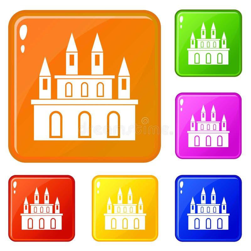 Los iconos medievales del castillo fijaron color del vector libre illustration