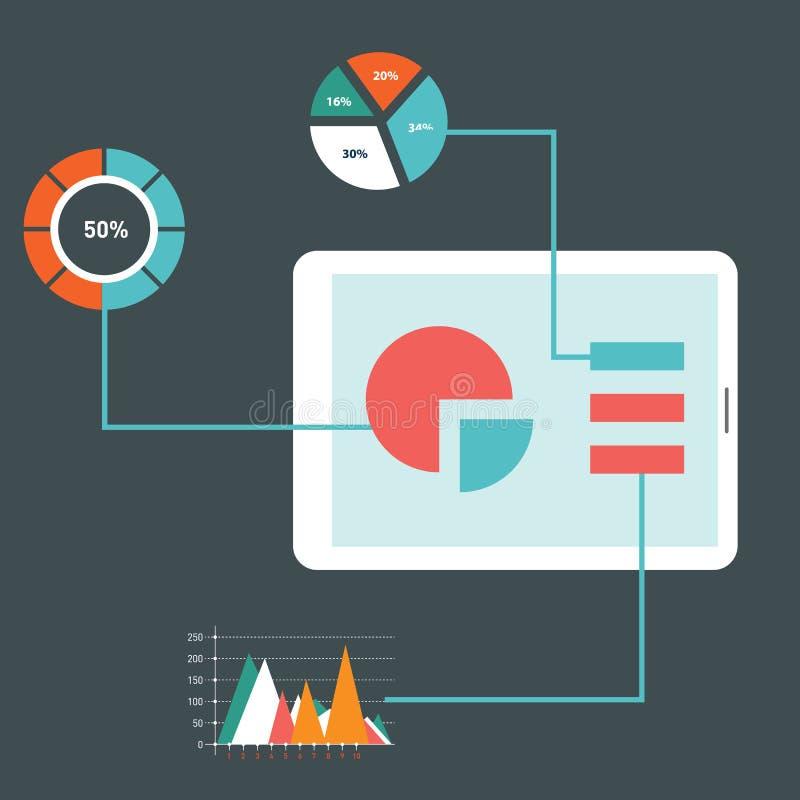 Los iconos modernos del ejemplo del vector del diseño plano fijaron de la optimización del sitio web SEO, del proceso programado  ilustración del vector