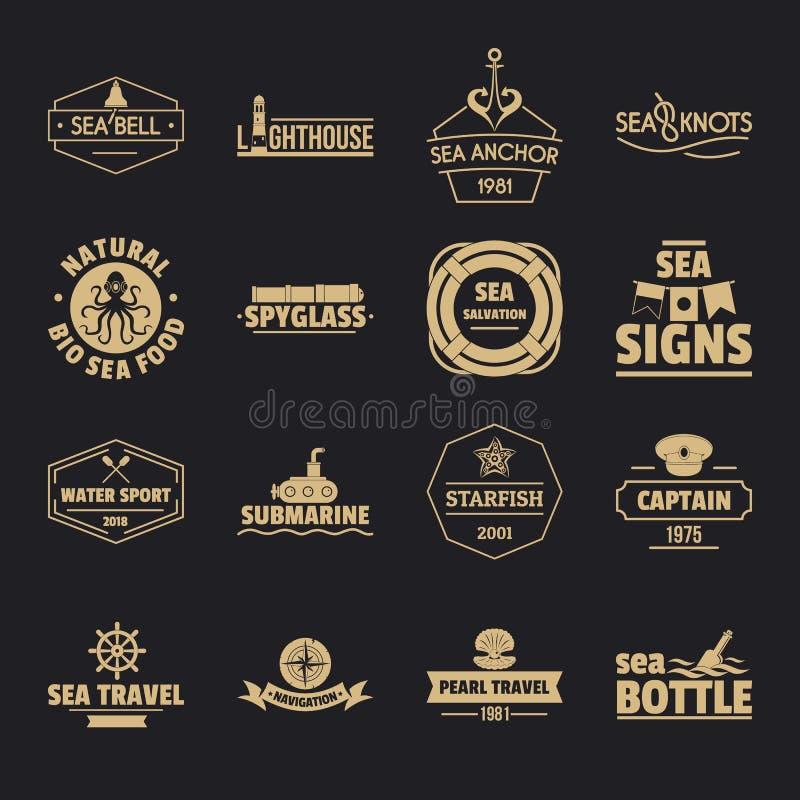 Los iconos náuticos del logotipo del mar fijaron, estilo simple stock de ilustración