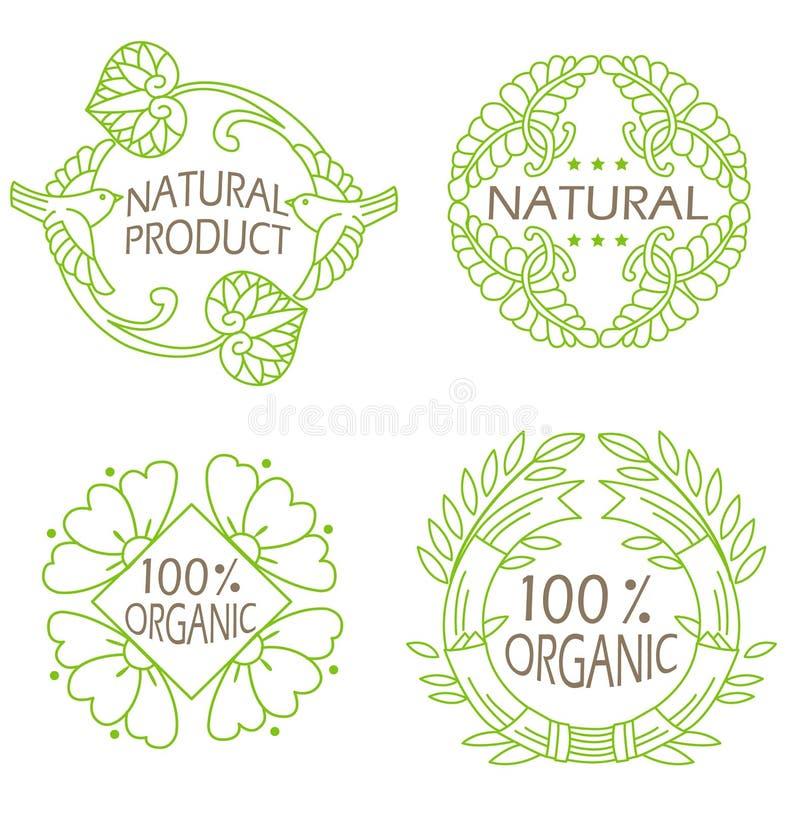 Los iconos naturales y del eco orgánicos fijaron con el producto natural del texto stock de ilustración