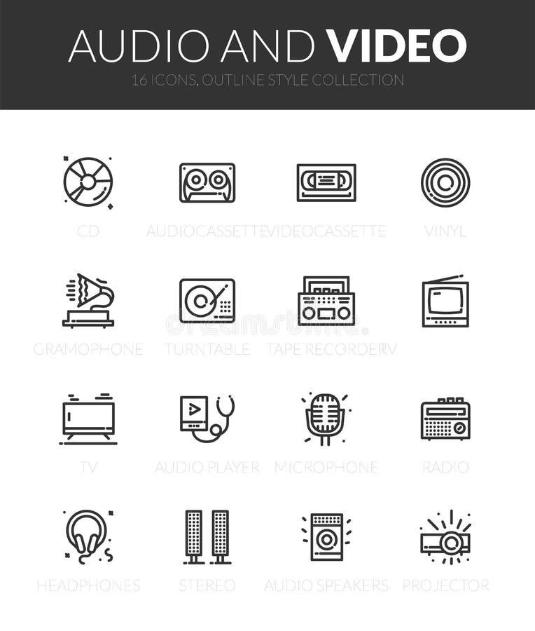 Los iconos negros del esquema fijaron en estilo fino del diseño moderno stock de ilustración