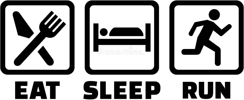 Los iconos para comen funcionamiento del sueño libre illustration