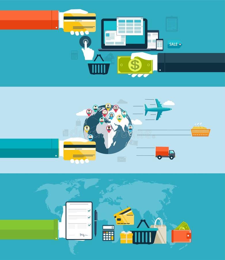 Los iconos para el web y el diseño móvil, seo, entrega de mercancías viajan en automóvili t libre illustration