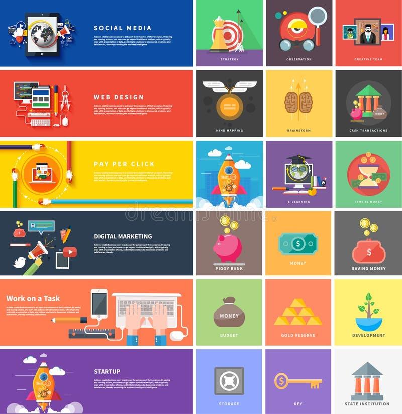 Los iconos para las transacciones de efectivo, estrategia, empiezan para arriba stock de ilustración