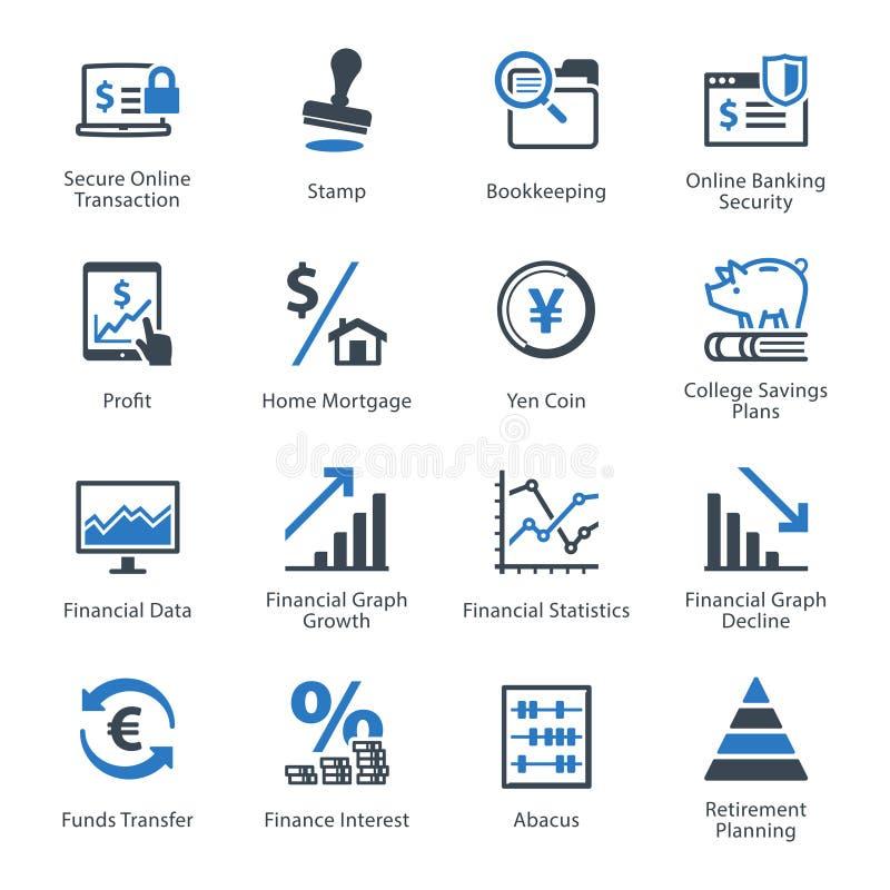 Los iconos personales y del negocio de las finanzas fijaron 3 - serie azul stock de ilustración