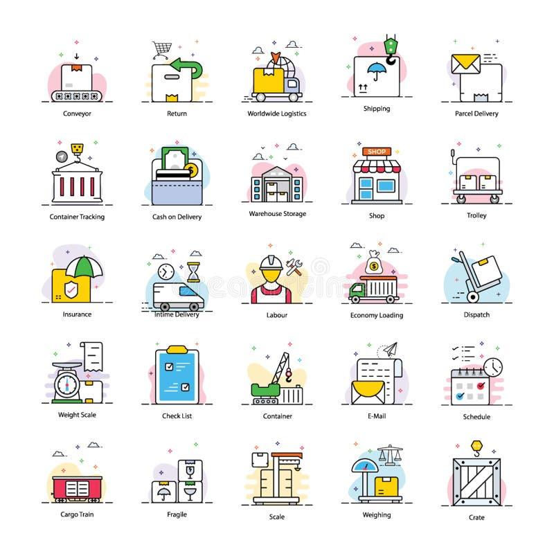 Los iconos planos de envío embalan ilustración del vector