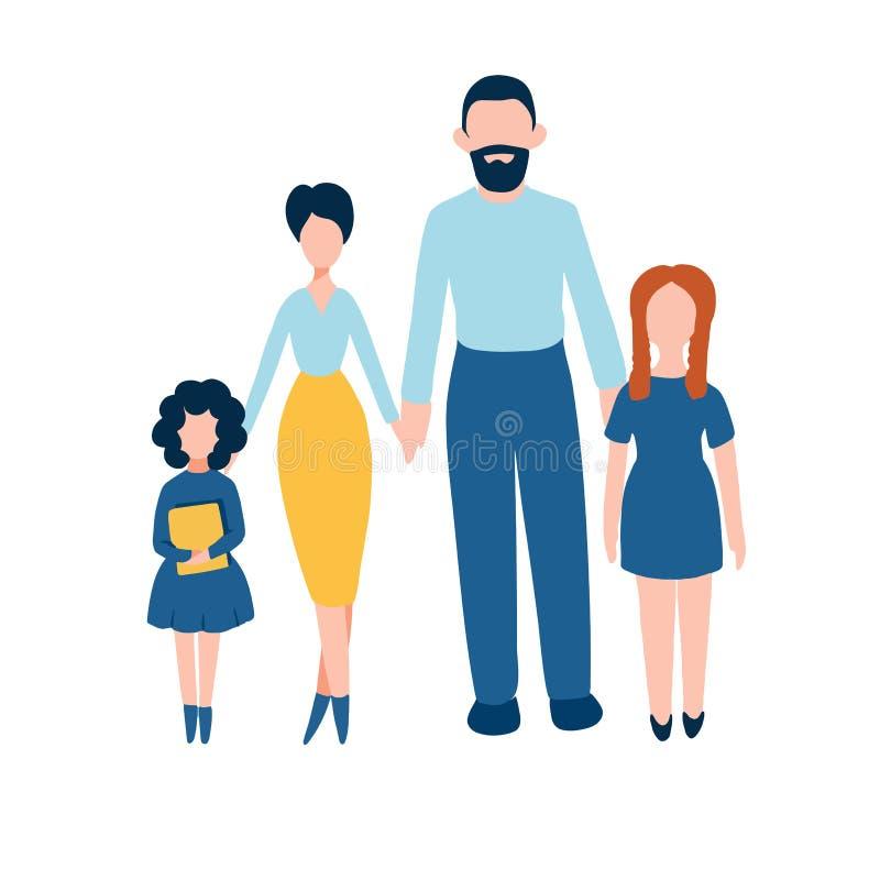 Los iconos planos de la familia de MobileHappy fijaron - el padre, la madre y a dos hijas stock de ilustración