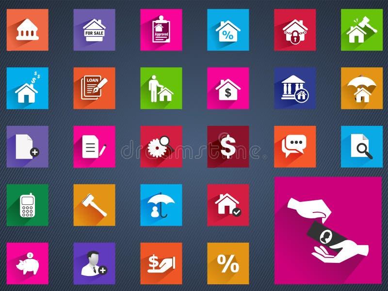 Los iconos planos de las propiedades inmobiliarias fijaron de la comisión de la evaluación de la casa stock de ilustración
