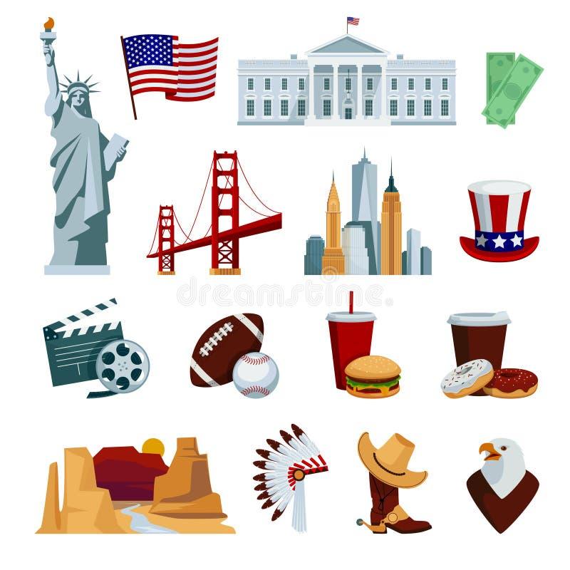 Los iconos planos de los E.E.U.U. fijaron con símbolos nacionales y atracciones americanos del horizonte stock de ilustración