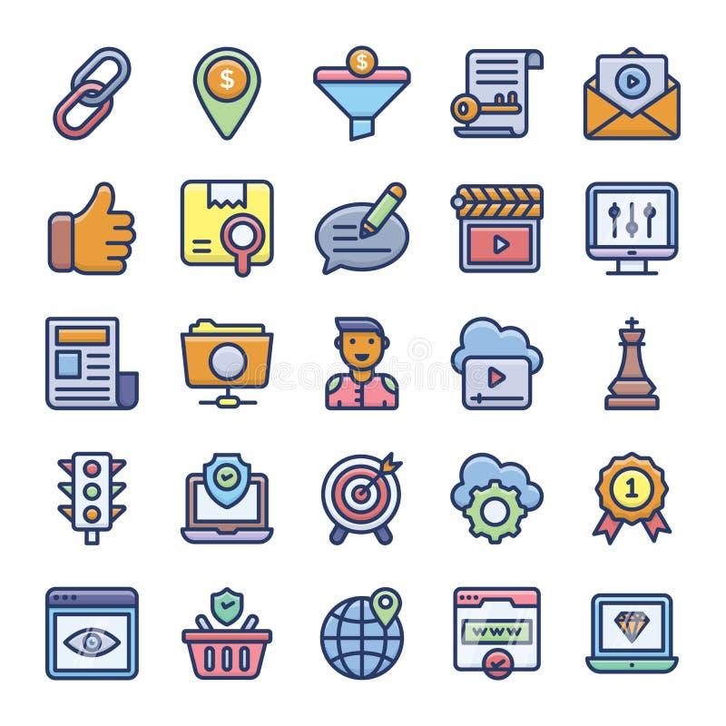 Los iconos planos de Seo Optimization embalan stock de ilustración