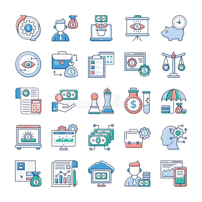 Los iconos planos del Analytics y de la inversi?n embalan ilustración del vector