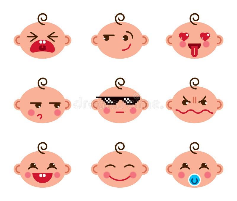 Los iconos planos del bebé del vector lindo de la historieta fijaron de collecti del smiley del emoji ilustración del vector